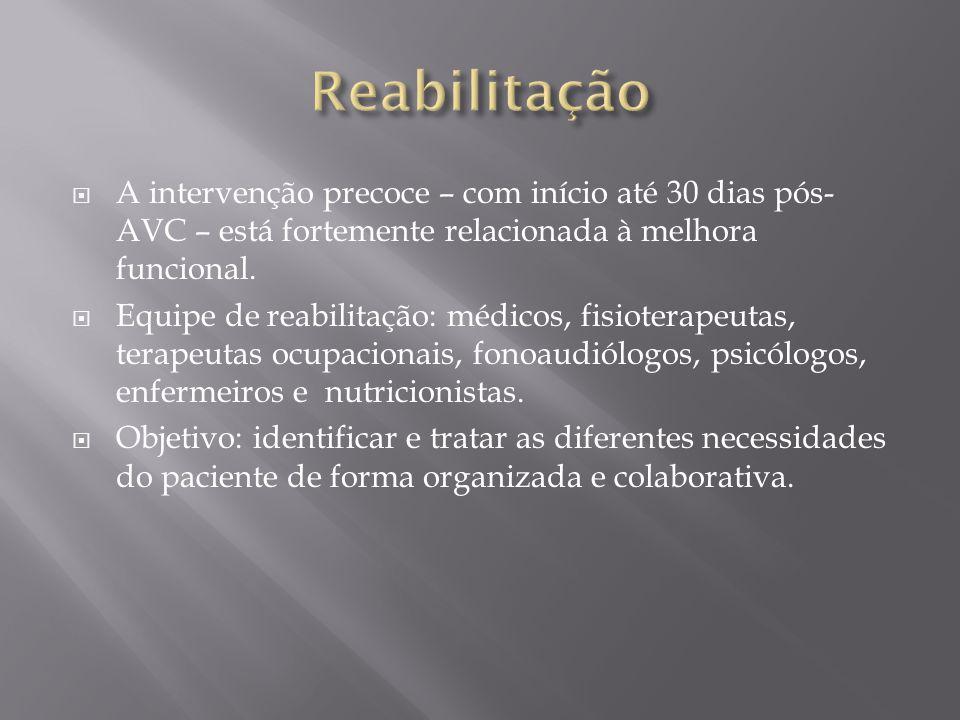 Reabilitação A intervenção precoce – com início até 30 dias pós-AVC – está fortemente relacionada à melhora funcional.