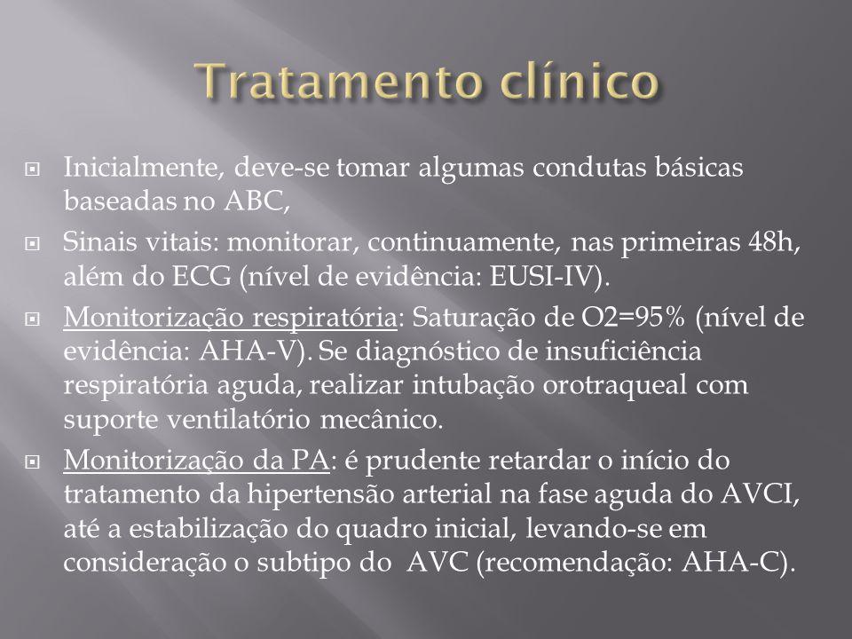 Tratamento clínico Inicialmente, deve-se tomar algumas condutas básicas baseadas no ABC,