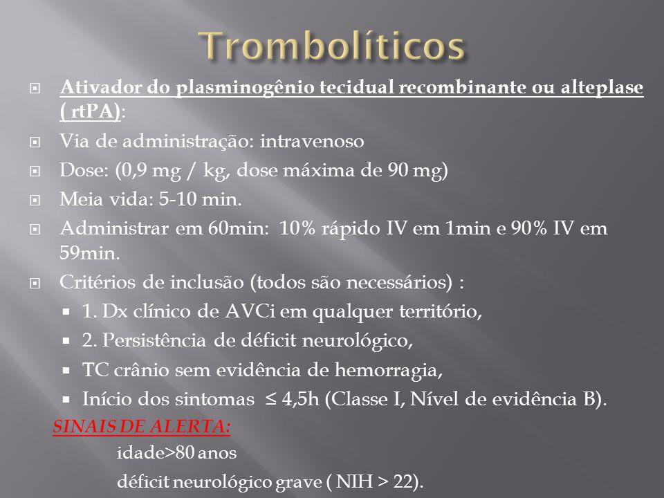 Trombolíticos Ativador do plasminogênio tecidual recombinante ou alteplase ( rtPA): Via de administração: intravenoso.