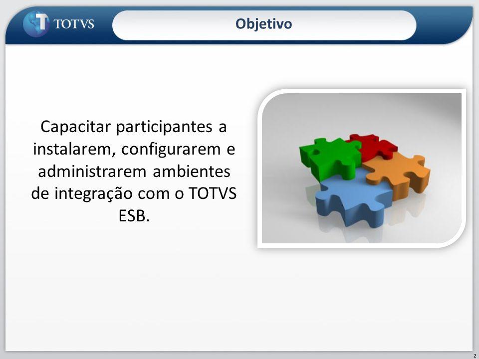 Objetivo Capacitar participantes a instalarem, configurarem e administrarem ambientes de integração com o TOTVS ESB.