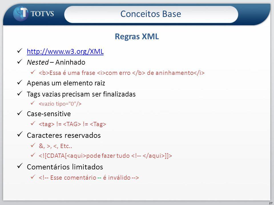 Conceitos Base Regras XML Caracteres reservados Comentários limitados