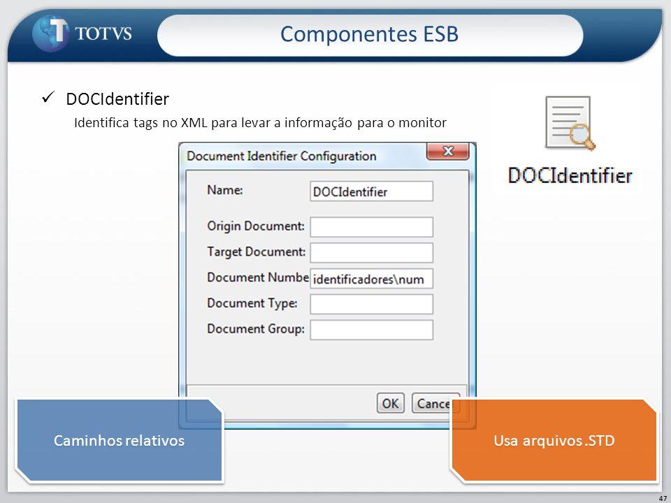 Componentes ESB DOCIdentifier Caminhos relativos Usa arquivos .STD