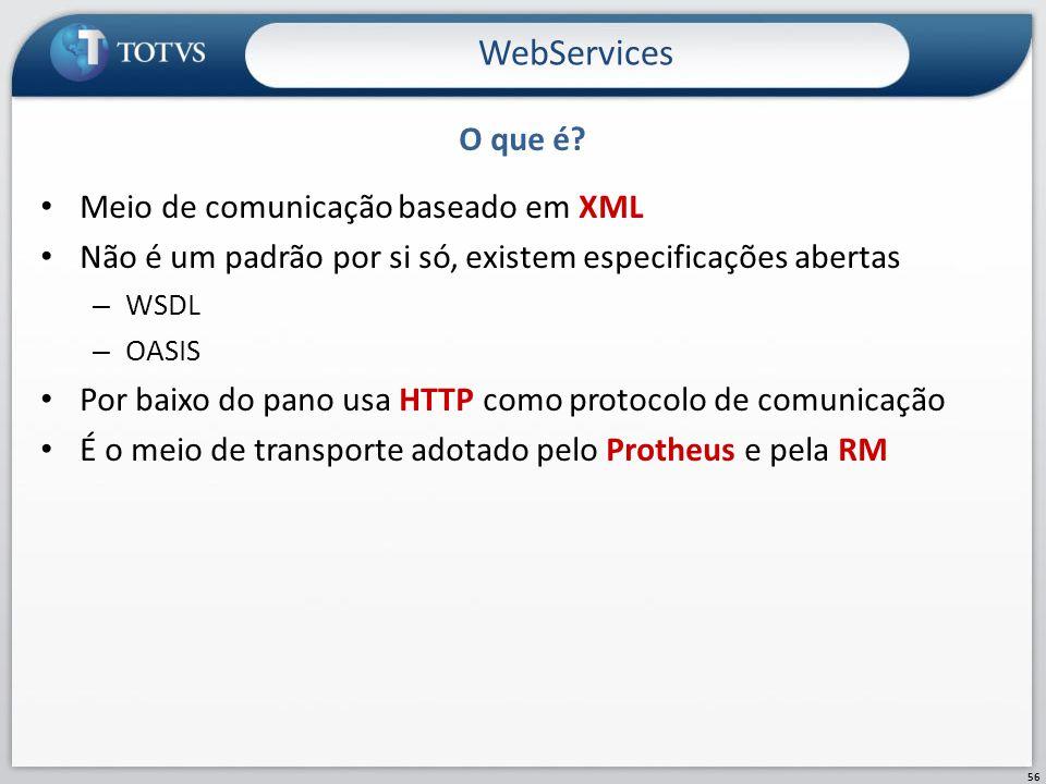WebServices O que é Meio de comunicação baseado em XML