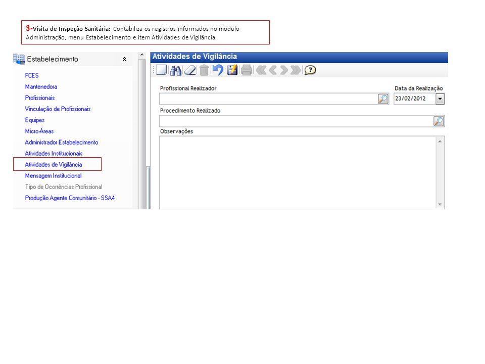3-Visita de Inspeção Sanitária: Contabiliza os registros informados no módulo Administração, menu Estabelecimento e item Atividades de Vigilância.