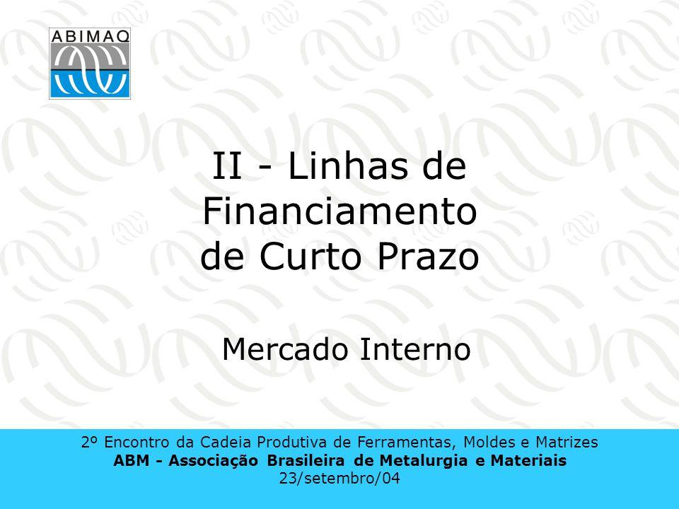 II - Linhas de Financiamento de Curto Prazo Mercado Interno