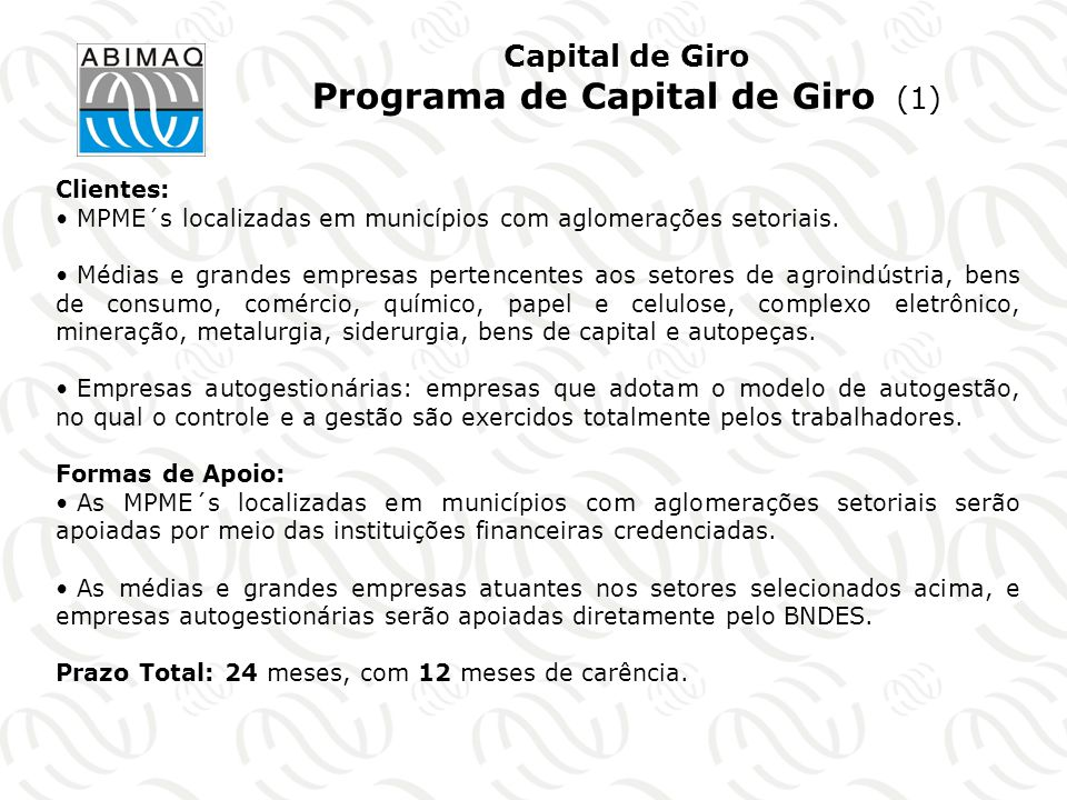 Capital de Giro Programa de Capital de Giro (1)