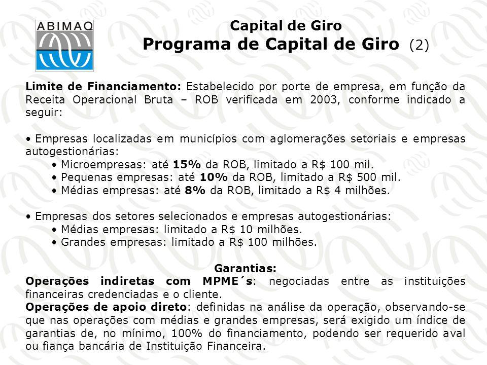 Capital de Giro Programa de Capital de Giro (2)