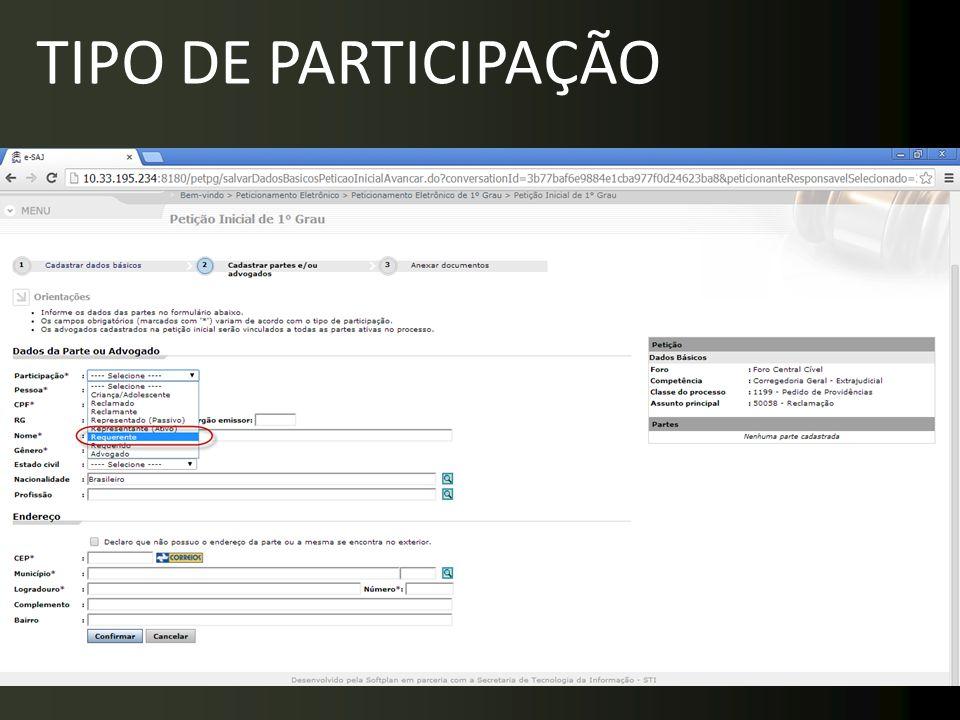 TIPO DE PARTICIPAÇÃO