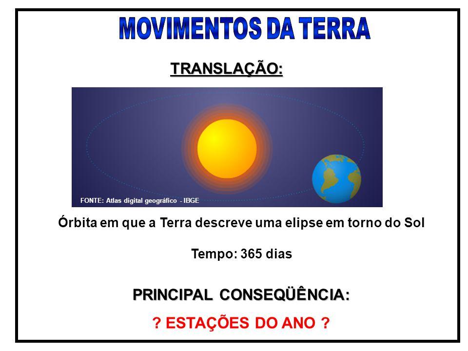 TRANSLAÇÃO: PRINCIPAL CONSEQÜÊNCIA: ESTAÇÕES DO ANO