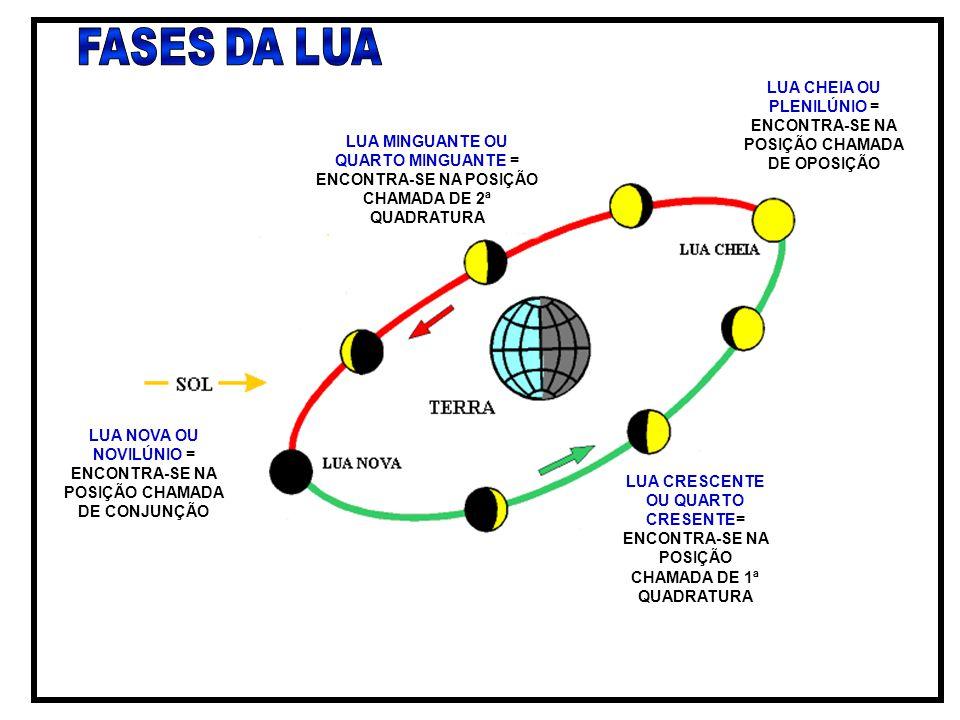 FASES DA LUA LUA CHEIA OU PLENILÚNIO = ENCONTRA-SE NA POSIÇÃO CHAMADA DE OPOSIÇÃO.