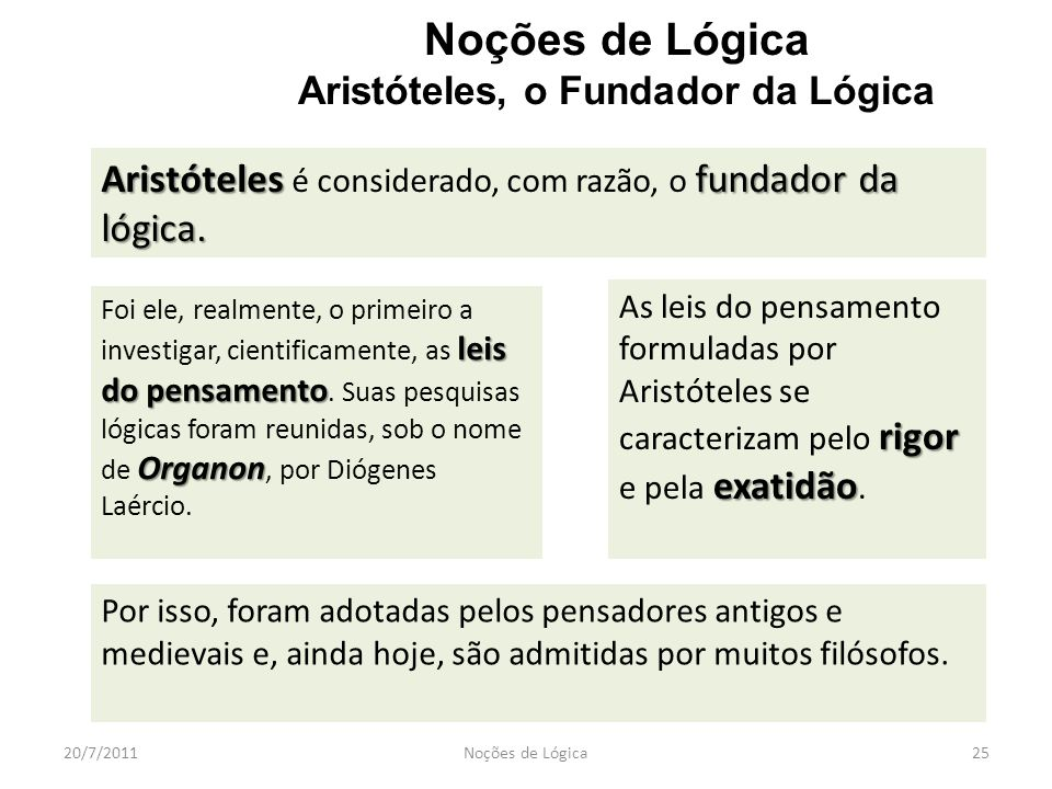 Noções de Lógica Aristóteles, o Fundador da Lógica