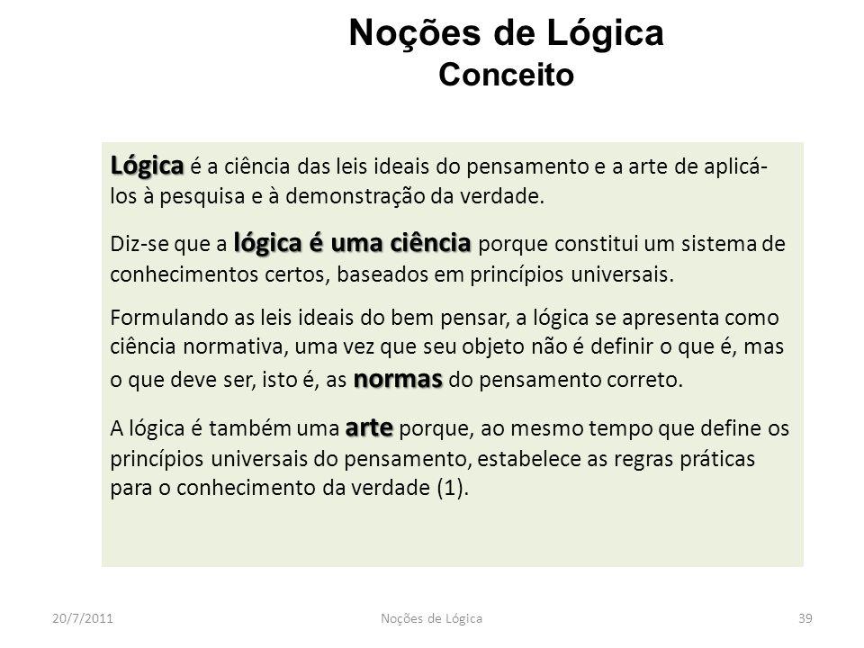 Noções de Lógica Conceito