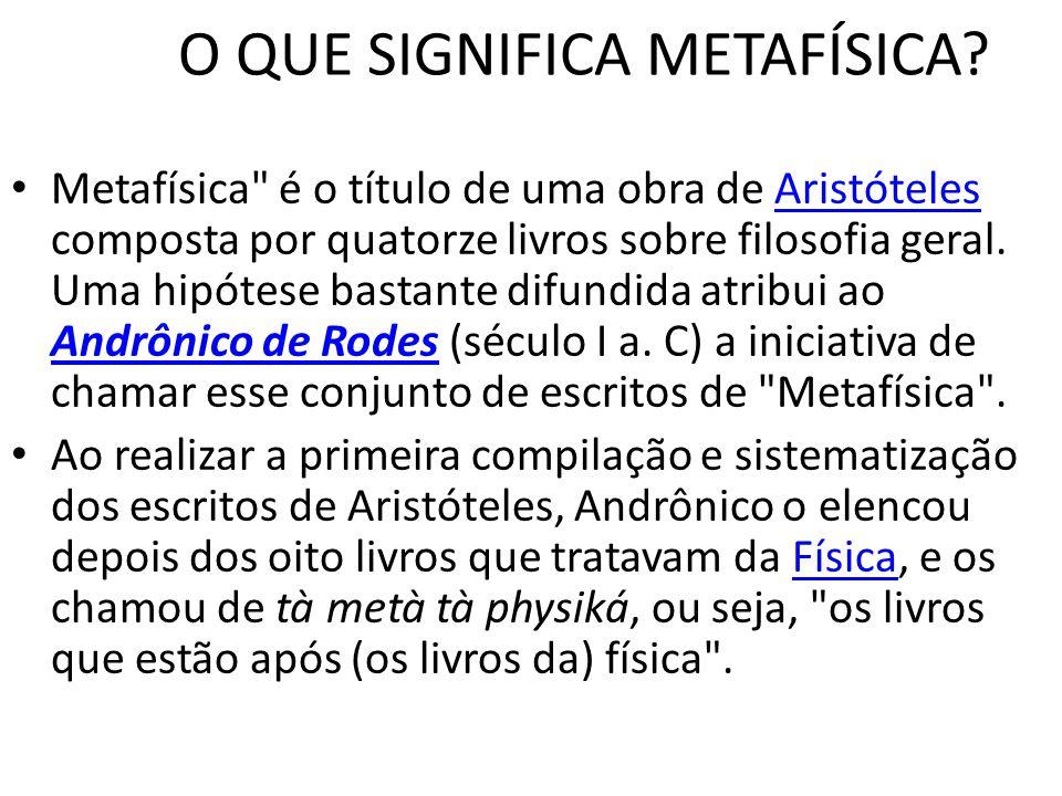 O QUE SIGNIFICA METAFÍSICA
