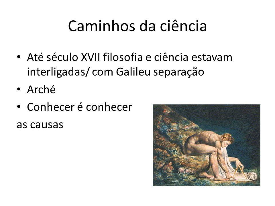 Caminhos da ciência Até século XVII filosofia e ciência estavam interligadas/ com Galileu separação.