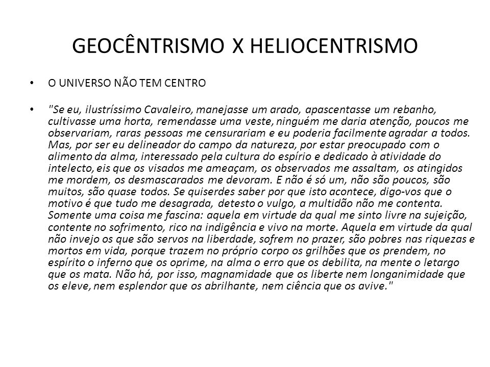 GEOCÊNTRISMO X HELIOCENTRISMO