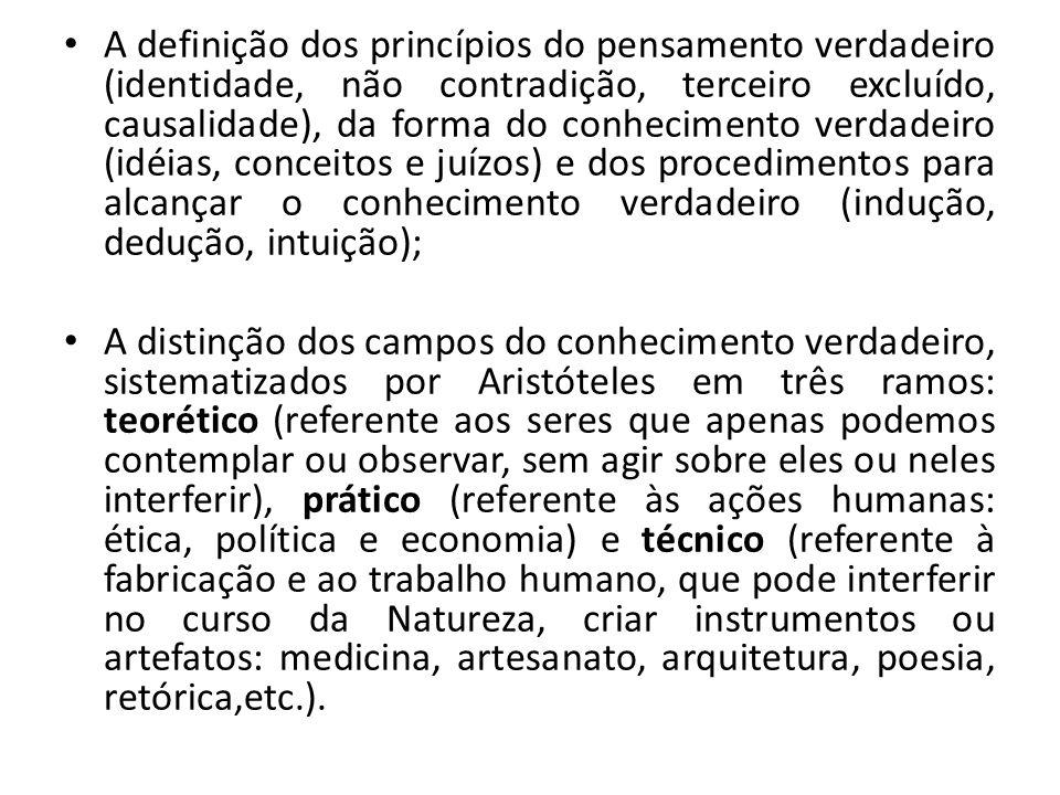 A definição dos princípios do pensamento verdadeiro (identidade, não contradição, terceiro excluído, causalidade), da forma do conhecimento verdadeiro (idéias, conceitos e juízos) e dos procedimentos para alcançar o conhecimento verdadeiro (indução, dedução, intuição);