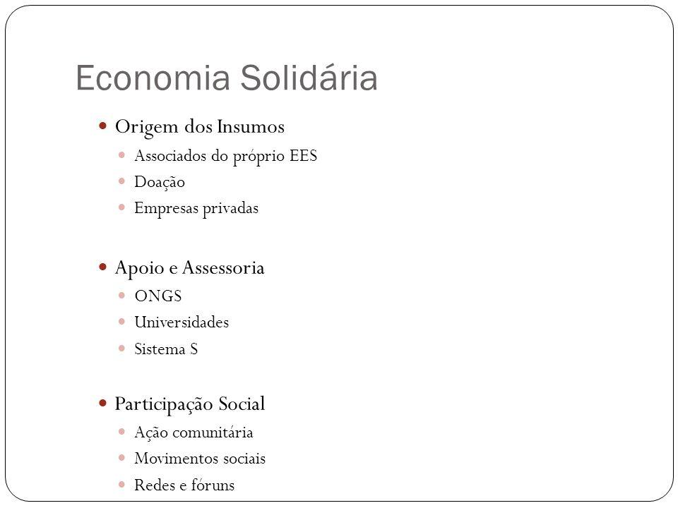 Economia Solidária Origem dos Insumos Apoio e Assessoria