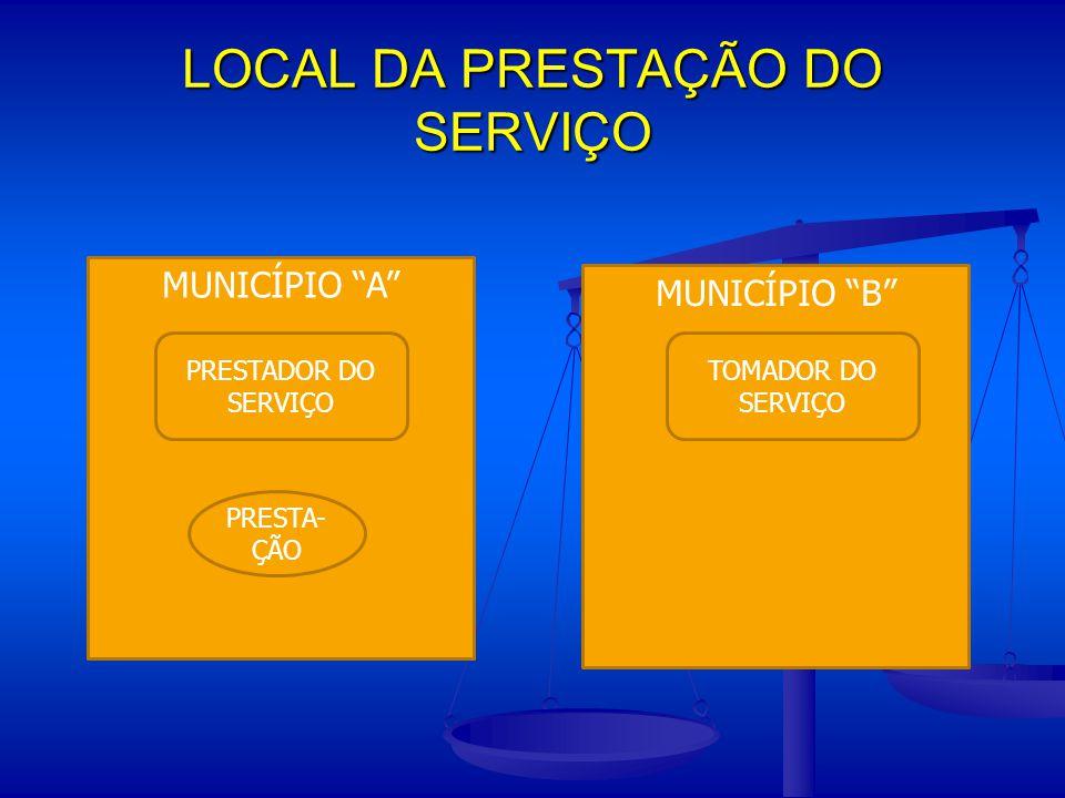 LOCAL DA PRESTAÇÃO DO SERVIÇO