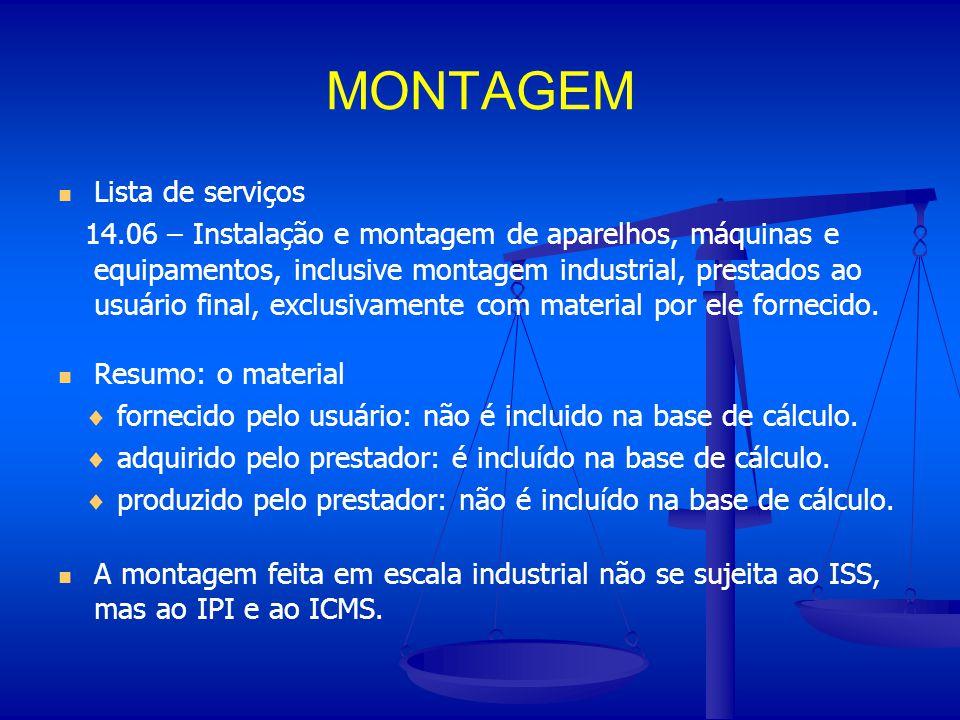 MONTAGEM Lista de serviços