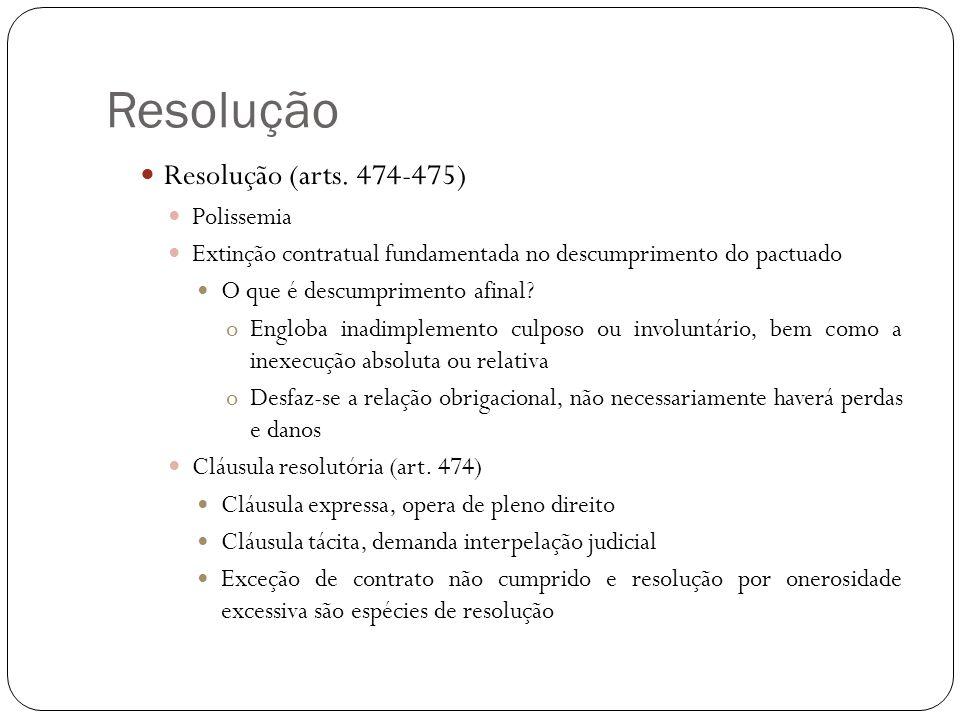 Resolução Resolução (arts. 474-475) Polissemia