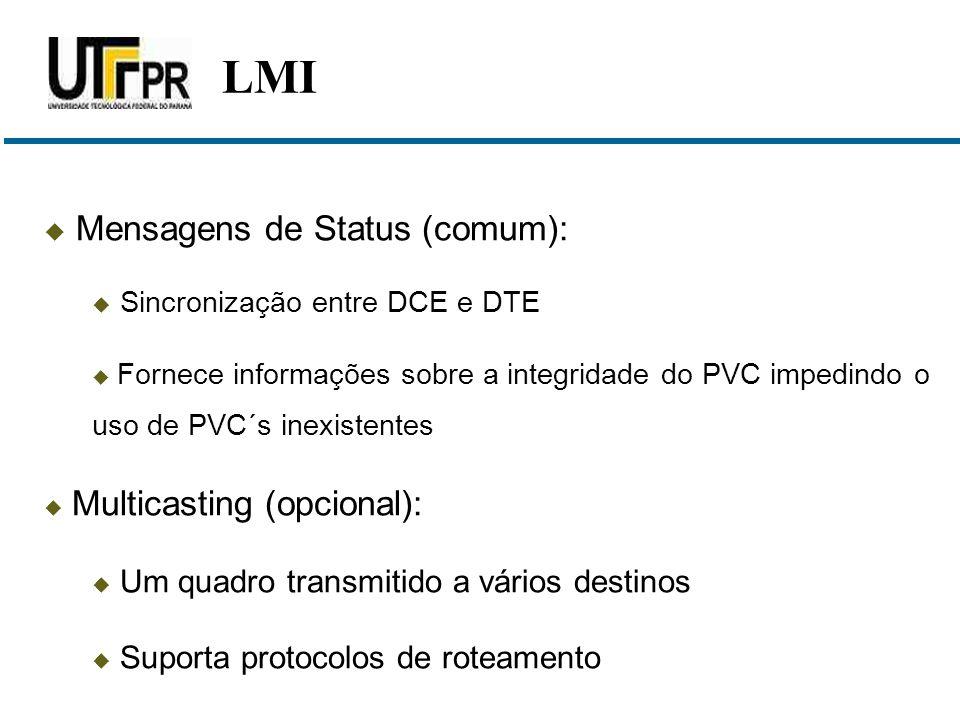 LMI Mensagens de Status (comum): Sincronização entre DCE e DTE