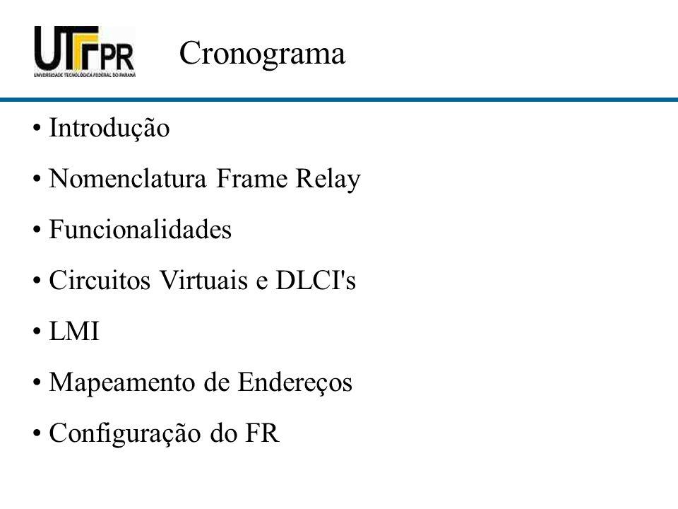 Cronograma Introdução Nomenclatura Frame Relay Funcionalidades