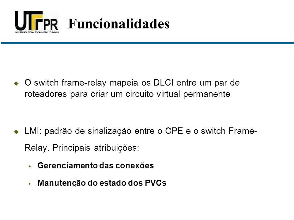 Funcionalidades O switch frame-relay mapeia os DLCI entre um par de roteadores para criar um circuito virtual permanente.