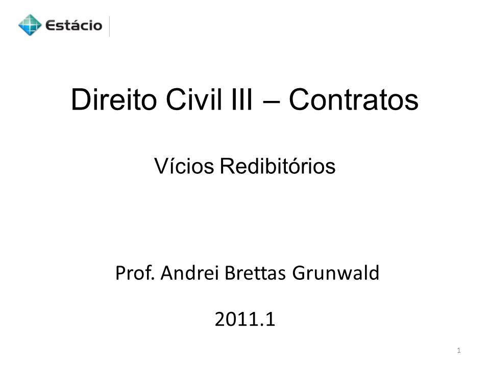 Direito Civil III – Contratos Vícios Redibitórios