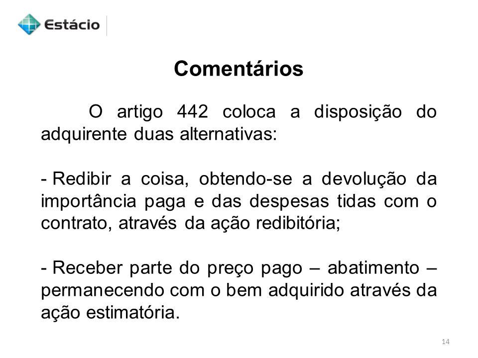 Comentários O artigo 442 coloca a disposição do adquirente duas alternativas:
