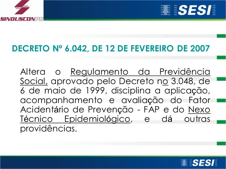 DECRETO Nº 6.042, DE 12 DE FEVEREIRO DE 2007