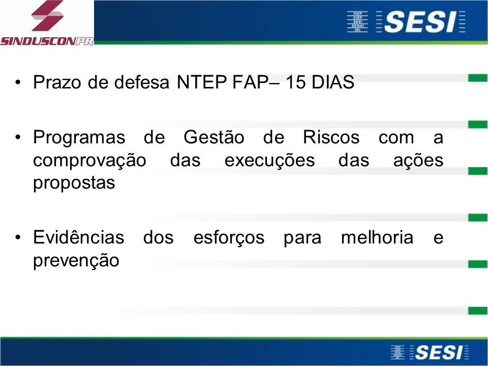Prazo de defesa NTEP FAP– 15 DIAS
