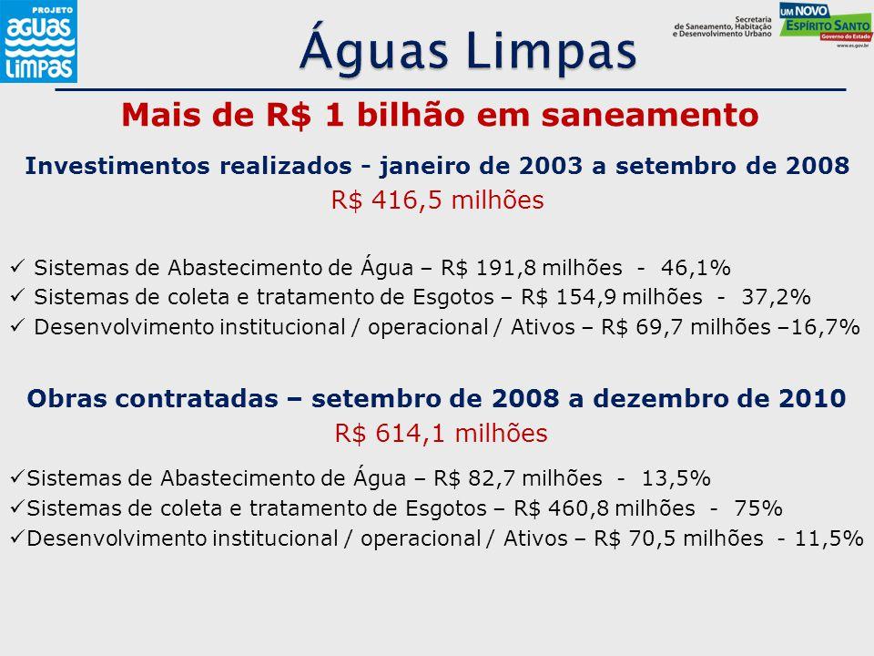 Águas Limpas Mais de R$ 1 bilhão em saneamento R$ 416,5 milhões