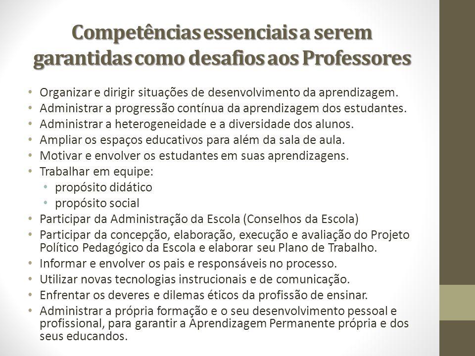 Competências essenciais a serem garantidas como desafios aos Professores
