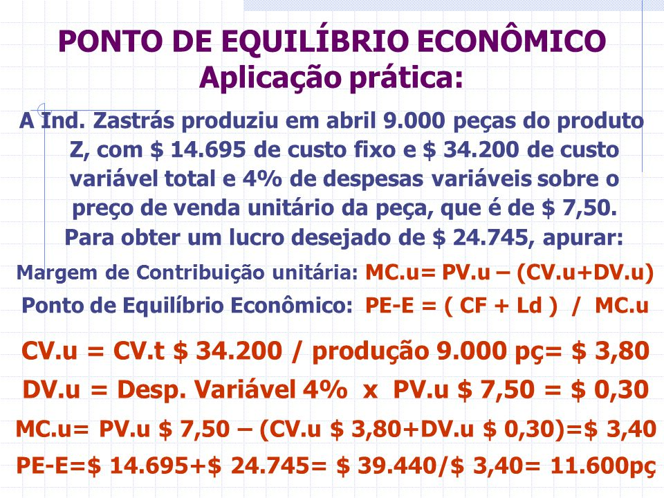 PONTO DE EQUILÍBRIO ECONÔMICO Aplicação prática: