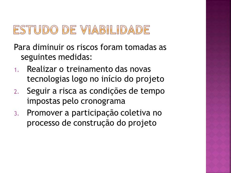 Estudo de viabilidade Para diminuir os riscos foram tomadas as seguintes medidas: