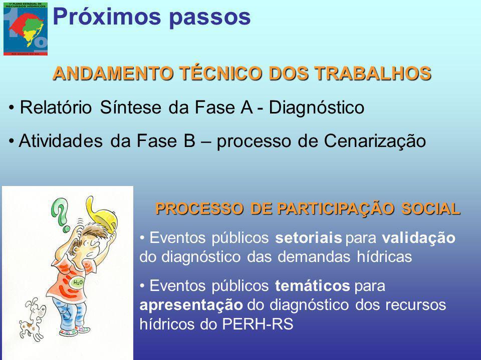 ANDAMENTO TÉCNICO DOS TRABALHOS PROCESSO DE PARTICIPAÇÃO SOCIAL