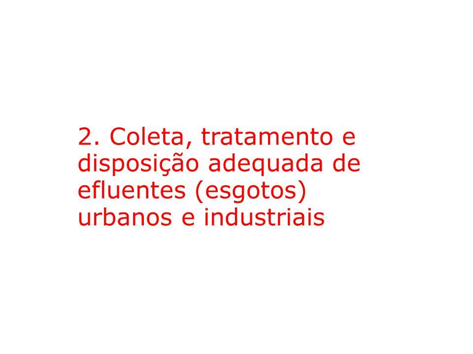 2. Coleta, tratamento e disposição adequada de efluentes (esgotos) urbanos e industriais