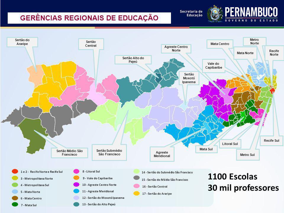 1100 Escolas 30 mil professores GERÊNCIAS REGIONAIS DE EDUCAÇÃO
