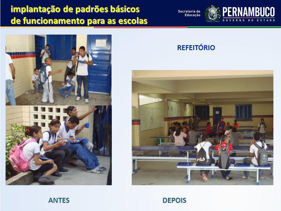 implantação de padrões básicos de funcionamento para as escolas