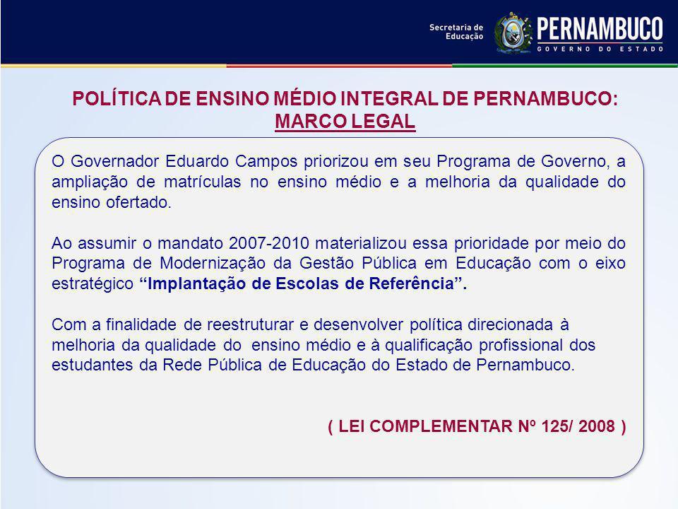POLÍTICA DE ENSINO MÉDIO INTEGRAL DE PERNAMBUCO: MARCO LEGAL