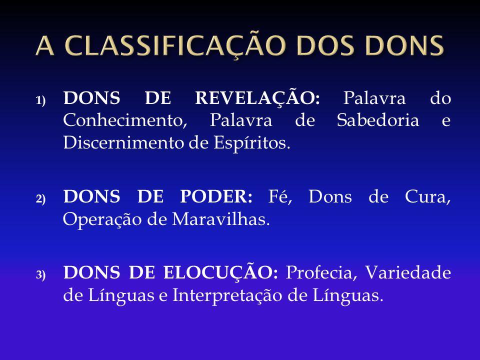 A CLASSIFICAÇÃO DOS DONS
