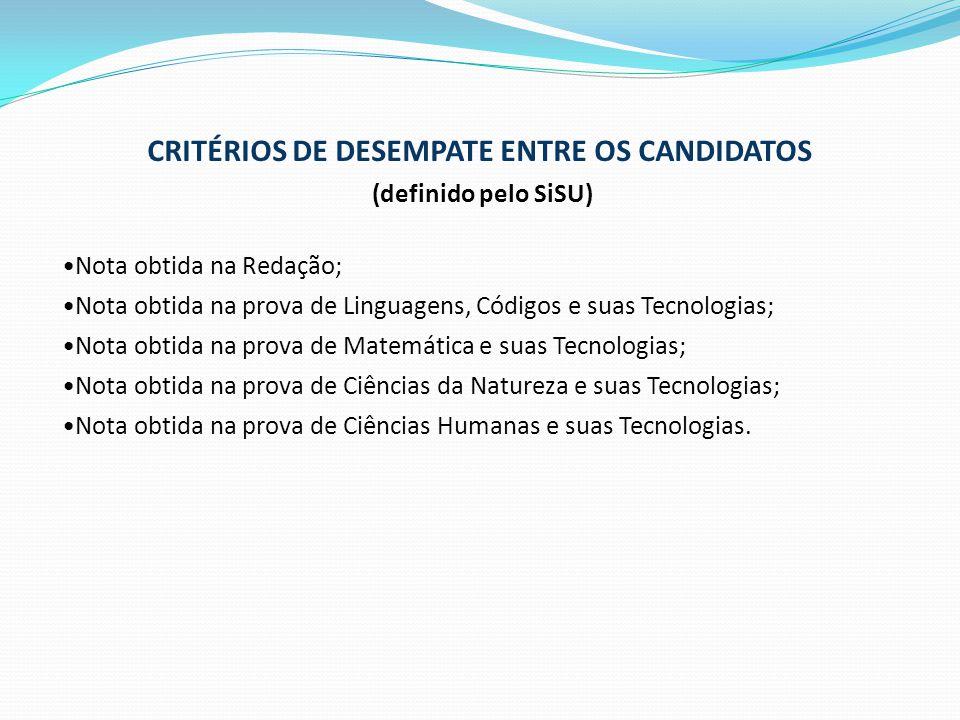 CRITÉRIOS DE DESEMPATE ENTRE OS CANDIDATOS