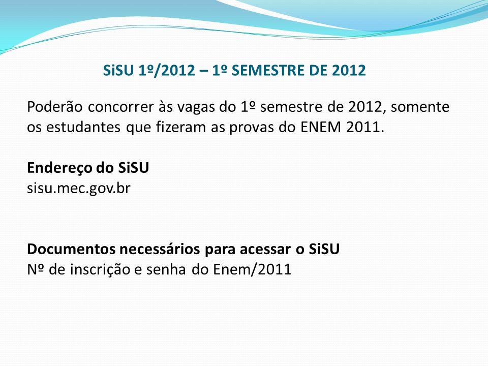 SiSU 1º/2012 – 1º SEMESTRE DE 2012
