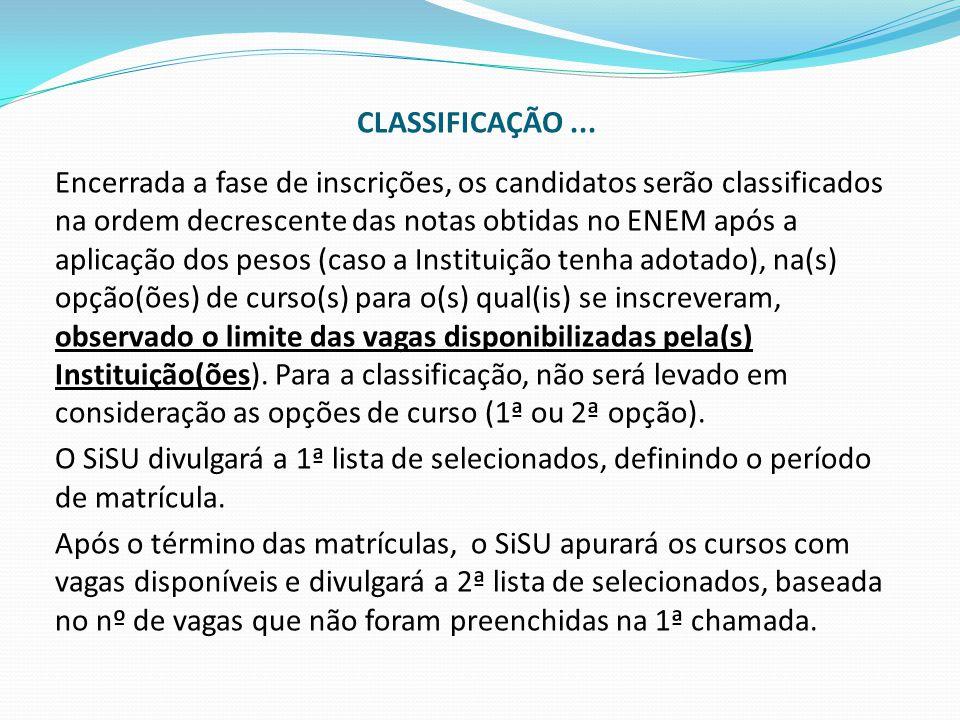 CLASSIFICAÇÃO ...