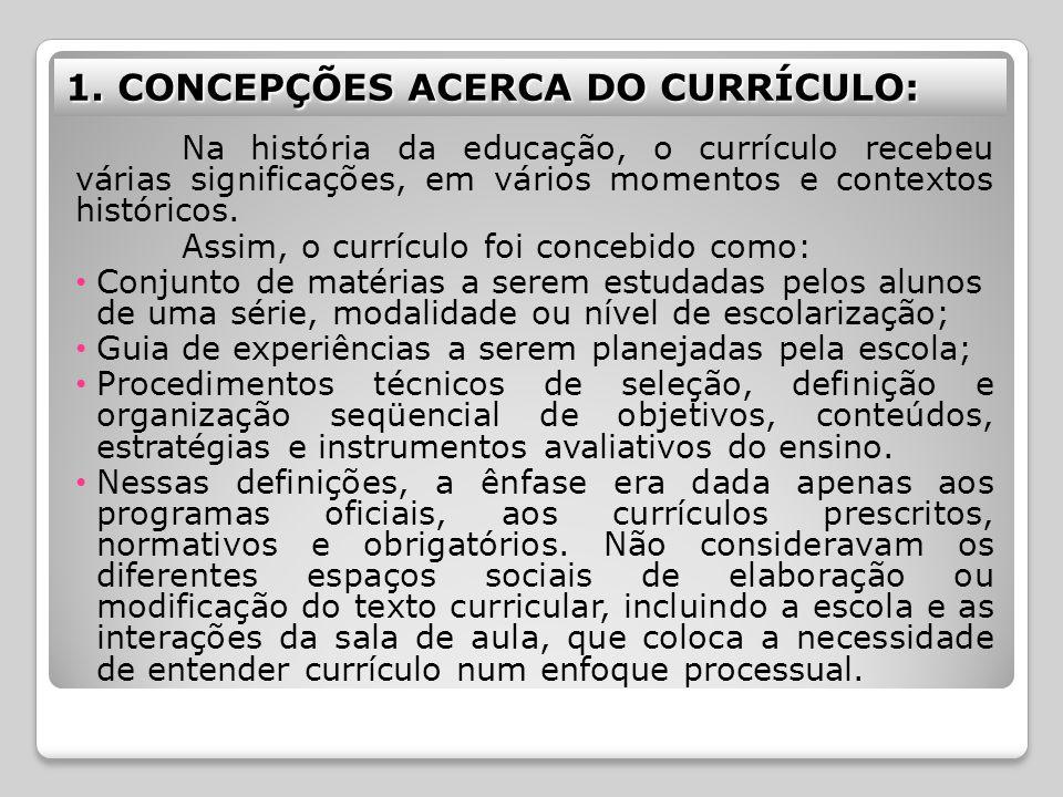 1. CONCEPÇÕES ACERCA DO CURRÍCULO: