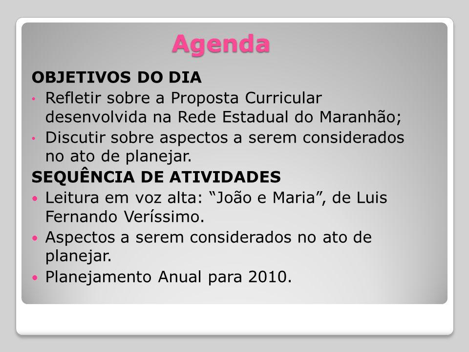 Agenda OBJETIVOS DO DIA