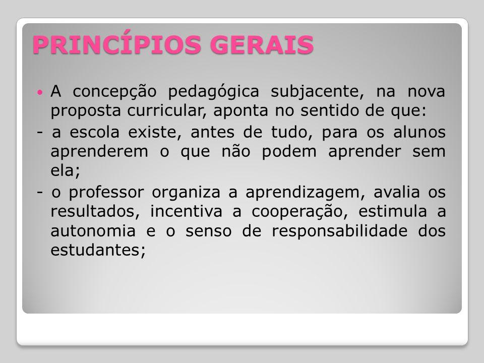 PRINCÍPIOS GERAIS A concepção pedagógica subjacente, na nova proposta curricular, aponta no sentido de que: