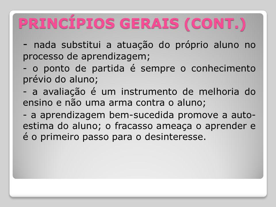PRINCÍPIOS GERAIS (CONT.)