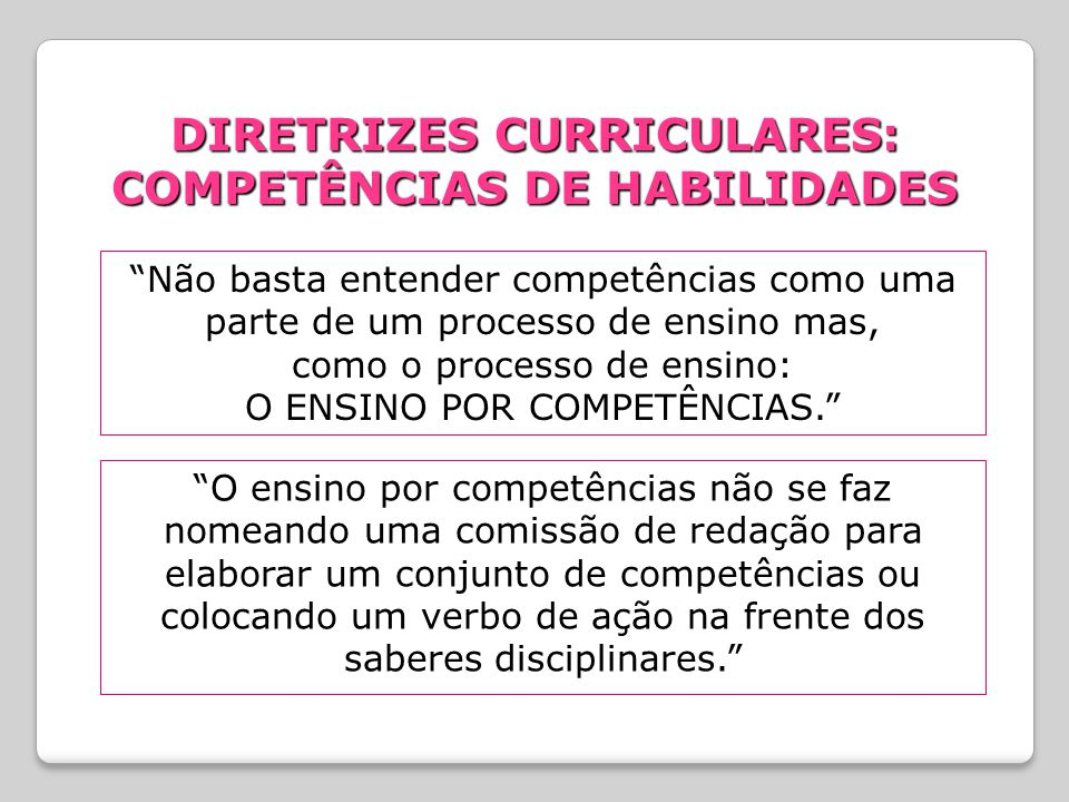 DIRETRIZES CURRICULARES: COMPETÊNCIAS DE HABILIDADES