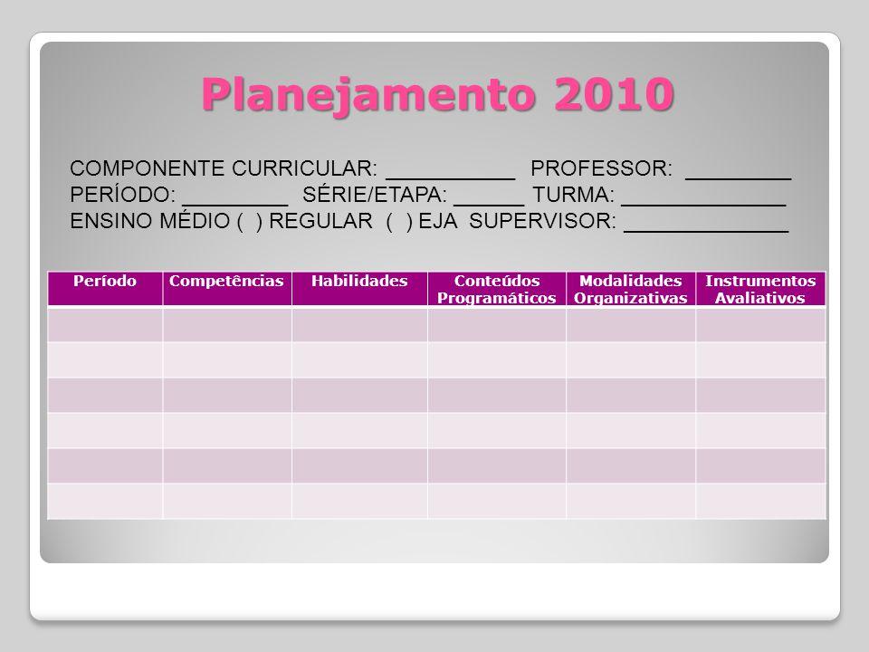 Planejamento 2010 COMPONENTE CURRICULAR: ___________ PROFESSOR: _________. PERÍODO: _________ SÉRIE/ETAPA: ______ TURMA: ______________.